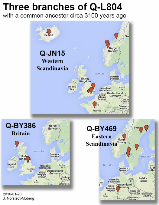 The three Q-L804 branches. Origin of BigY kits with known ancestry.
